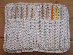 "From the website: This case is worked all in one piece and folds like a book. The hook ""pockets"" are crocheted into the case! This case holds 10 hooks…a complete set sizes B to K."