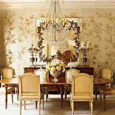 This luminous gold Gracie paper is the crowning touch to a stunning understated dining room by Ann Holden