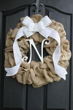 Burlap Wreath - Etsy Wreath - Summer wreaths for door  - Door Wreath - Monogram wreath