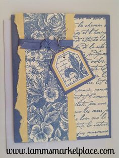 Blue and Yellow Flor de Lis Card with Blue Ribbon Accent MKC040 – Tamm's Marketplace