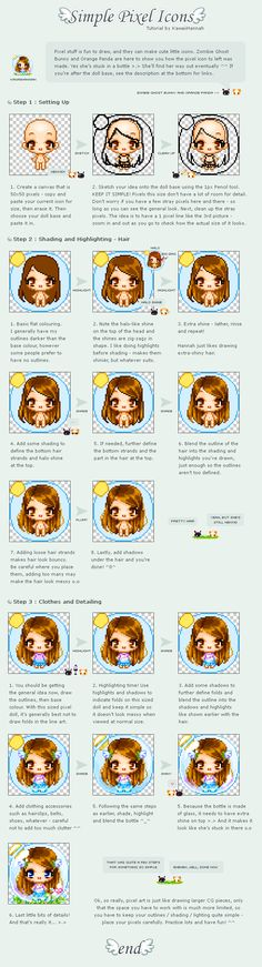 Tutorial : Pixel Doll Icon by ~kawaiihannah on deviantART