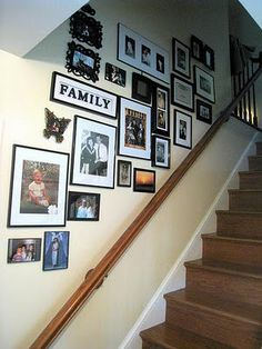 Picture arrangements going up stairs Stairway Photo Gallery, Stairway Photos, Gallery Wall Staircase, Staircase Design, Gallery Walls, Staircase Walls, Stairwell Pictures, Staircase Frames, Stairway Art