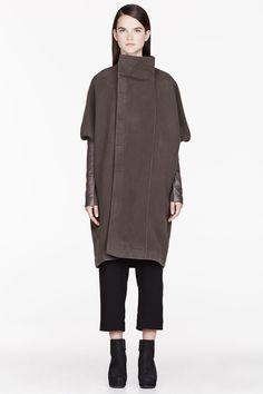 RICK OWENS Grey Fleece & Leather Dolman Biker coat
