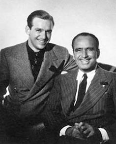 Douglas Fairbanks Jr. on the left with his father Fairbanks Sr.