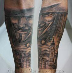 V for Vandetta tattoo. London parliament