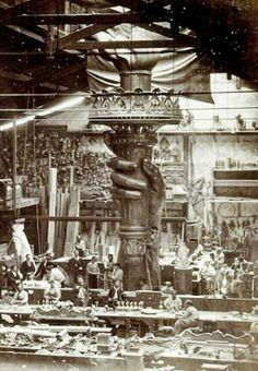 Making the flame of the Statue of Liberty. 1876.
