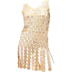Preowned Iconic Paco Rabanne Petal Disk Dress (€3.530) ❤ liked on Polyvore featuring dresses, beige, petal dress, anniversary dresses, preowned dresses, paco rabanne and paco rabanne dress