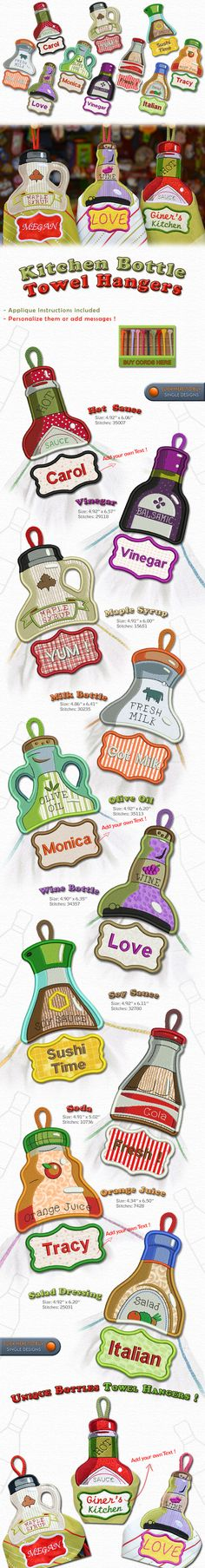 KITCHEN BOTTLES TOWEL HANGER Embroidery Designs Free Embroidery Design Patterns Applique
