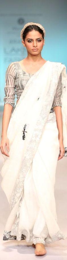 Handwoven linen saree by Anavila Misra at Lakme Fashion Week 2014 - original pin by @webjournal