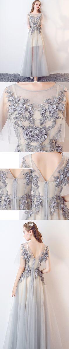 Long Prom Dresses, Tulle Prom Dresses, A-Line Party Dresses, V-Back Evening Dresses, Floor-Length Prom Dresses , Applique Prom Dresses, 17481