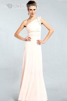 Elegant One-Shoulder Floor-length Beading Evening Dress