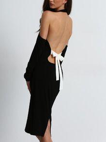 Black Open Shoulder Backless Bow Halter Dress