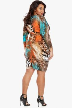 Plus Size Animal Drape Dress | Fashion To Figure