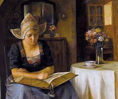 """stilllifequickheart: """"Alois Heinrich Priechenfried Woman in Dutch Costume Reading in an Interior, detail century """" People Reading, Book People, I Love Books, Good Books, Books To Read, Reading Art, Woman Reading, Illustrations, Illustration Art"""