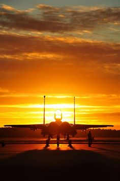 An Eagle from Seymour Johnson Air Force Base, N., sits on the flightline before an early morning training sortie Sept. at Tyndall AFB, Fla. The unit traveled to Tyndall AFB to participate in the Combat Archer exercise, a weapons system. Us Military Aircraft, Military Helicopter, Military Jets, Military Personnel, Military Weapons, Fighter Aircraft, Fighter Jets, Photo Avion, F14 Tomcat