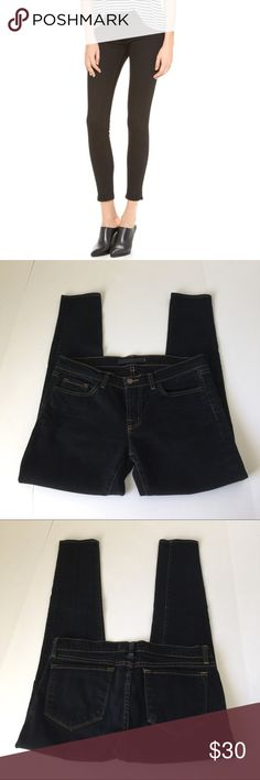 J Brand Low Rise Skinny Jeans, size 28 J Brand Low Rise Skinny Jeans in black, size 28. Flat lay measure of the waist is 16. Rise is 8, inseam is 27.5, and leg opening is  5.25. Made from 98% cotton and 2% spandex. In very good  condition, please ask if you have any questions. J Brand Jeans Skinny