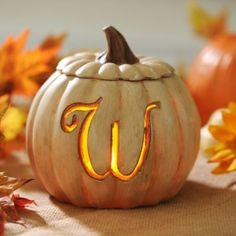 Pre-Lit Cream Monogram W Pumpkin | Kirklands