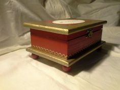 Wood crafts-Beautiful red and gold box . By Enchanted Giftss on Etsy - sold.