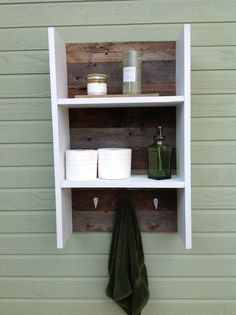 cute idea for small bathroom decor I want to build something like this for our tiny bathroom :)