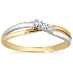 Size-3.5 3 Diamond Promise Ring in 10K Yellow Gold 1//10 cttw, G-H,I2-I3