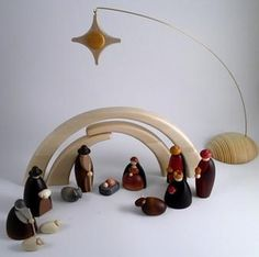 Bjorn Kohler Nativity Scene or Christmas Creche. Handcrafted in the Ore Mountains of Germany. Modern figures in beautiful natural wood Wooden Christmas Ornaments, Wood Ornaments, Christmas Nativity, Christmas Wood, A Christmas Story, Christmas Projects, Christmas Decorations, Winter Holidays, Holidays And Events