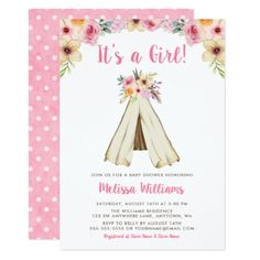 Boho Floral Tribal Teepee Girl Baby Shower Card - invitations custom unique diy personalize occasions