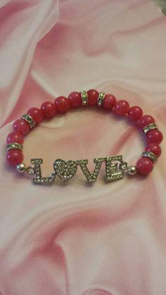 Love  Hot pink  Love bracelet  Bracelet  by BeaDazzledandBeyond