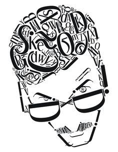 Typographic Self Portrait Creative Typography, Typographic Design, Typography Poster, Graphic Design Typography, Typography Portrait, Text Portrait, Drawing Cartoon Faces, Typographie Inspiration, Type Posters