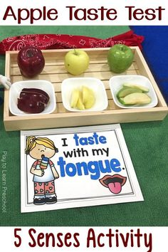 The Apple Taste Test is a wonderful way to incorporate the sense of taste into your lesson. It also sneaks in vocabulary, math, and science. via @PlayToLearnPS #preschoolfivesenses #appletheme #preschoolactivities #preschoolscience