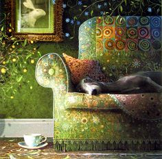 Typical dog lying-on-couch-face by Stephen Hanson - wonderful image, and I love the hare portrait hanging on the wall...