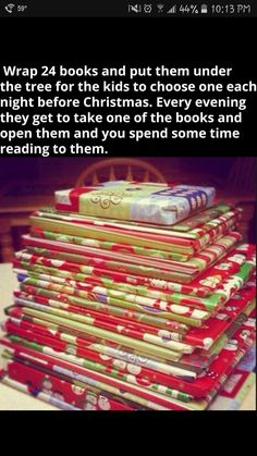 books before christmas. we do this around christmas time at my house! All Things Christmas, Winter Christmas, Christmas Holidays, Christmas Books, Christmas Countdown, Family Christmas, Christmas Eve Box Ideas Kids, Christmas Presents For Parents, Holiday Crafts