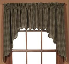 Braddock Scalloped Lined Swag Curtains - Primitive Star Quilt Shop
