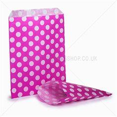 Papiertüten weiß auf pink gepunktet