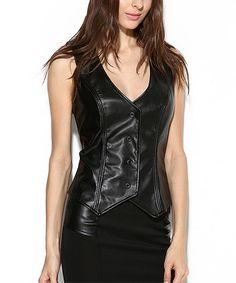 Look at this #zulilyfind! Black Faux Leather V-Neck Vest #zulilyfinds