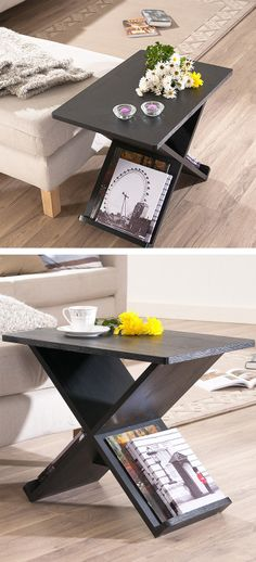 End table with a handy built-in magazine rack   Furniture Design