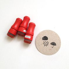 Rainy Days Rubber Stamp Set // 3 Mini Stamps // Umbrella Cloud Raindrops on Etsy, $10.36