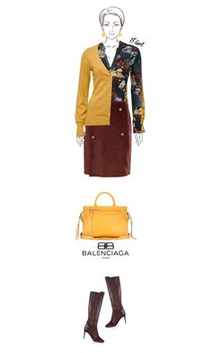 Office outfit: Burgundy - Mustard by downtownblues on Polyvore #officewear  #FloralTop  #cardigan  #fauxleather  #satchel  #Balenciaga #JimmyChoo