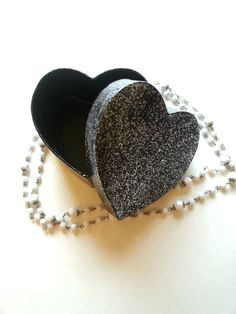 Black glitter sparkle heart shaped jewelry box for by StarrJoy16, $8.00