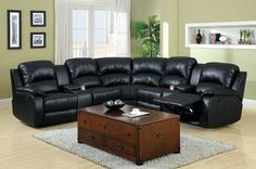 Leder Ecksofa Ravenna L Form Mit LED Beleuchtung. 4 Pc Black Bonded Leather Sectional Sofa With Recliners . 68 OFF Black Leather Reclining Couch Sofas. Home and Family Small Leather Sofa, Leather Reclining Sectional, Best Leather Sofa, Black Sectional, Black Leather, Reclining Sofa, Black Sofa, Leather Sofas, Sofa Design
