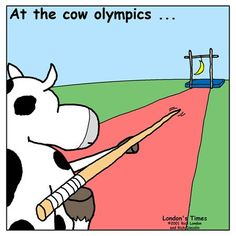 Th cow jumped over the moon. I thought it was a banana until I read the comment. Make Em Laugh, I Love To Laugh, Laugh Out Loud, Animal Jokes, Funny Animals, Funny Cows, Haha Funny, Hilarious, Funny Stuff