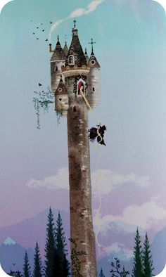 """Such a Long climb! One day Rapunzel said to the enchantress after her prince had been to see her the evening before, """"Tell me how it happens that you are so much heavier for me to draw up than the young king's son - he is with me in but a moment."""""""