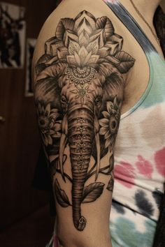 Elephant Sleeve Tattoo - http://giantfreakintattoo.com/elephant-sleeve-tattoo/ #sleevetattoos