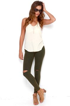 green distressed jeans + white tank