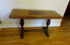 """Walnut sofa table or entry hall, measures 20""""x53 ½"""" x30."""" In great condition. It does need to be tightened."""