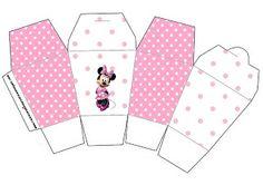 Cajitas imprimibles gratis de Minnie Mouse en fondo rosa.