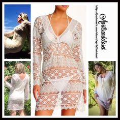 "❗️1-HOUR SALE❗️Crochet Lace Coverup Tunic Dress RETAIL PRICE: $128 💟NEW WITH TAGS💟 Boho Floral Crochet Lace Tunic Shift Dress * V-neck front & pullover A-Line style * Incredibly soft knit semi-sheer eyelet beautiful striped lace embellished construction * Wide long bell sleeves & an optional self-tie belt * About 36"" long  * Relaxed silhouette * SIZING- Tagged size S/M = sizes 2-8 Fabric: 75% Nylon & Viscose Color: Cream Item#B92700 #  Pastel # Shirtdress shift 🚫No Trades🚫 ✅ Offers…"