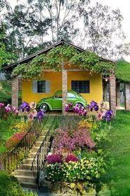 Adorable farmhouse cottage design ideas and decor 13 Beautiful Landscapes, Beautiful Gardens, Beautiful Homes, Beautiful Places, Beautiful Pictures, Village House Design, Village Houses, Cute Cottage, Cottage Style