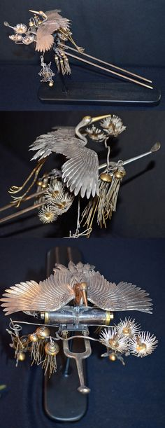 Rare Japanese Edo Period Silver and Gilt Hair Pin. Rare Japanese Edo Period Silver and Gilt Hair Ornament. Sterling and 999 pure Silver and Gilt hair ornament of magnificent quality made for an Oria, the highest class of geisha, featuring a crane in flight with flowers and branches and tassels. 14 long x 6 wide x 10.5 inches high with base, 35.5 x 15.25 x 26.5 cm. Pre 1900