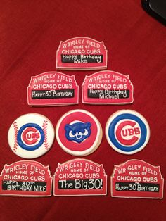 Chicago Cubs cookies for my son's 30th birthday!