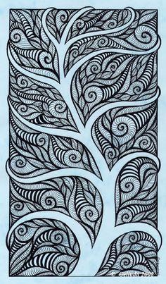 """» """"Абстракция на голубом листе"""" » Картинки, эскизы, рисунки карандашом и тушью."""